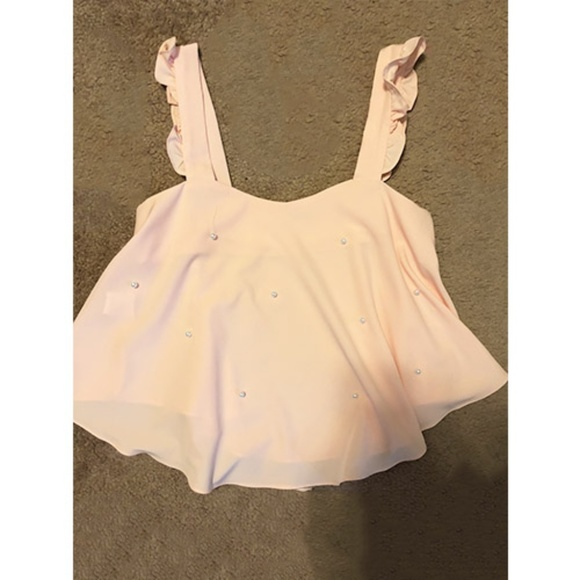 4433a04138 SHEIN Tops   Pink Ruffle Tank Top With Pearls   Poshmark